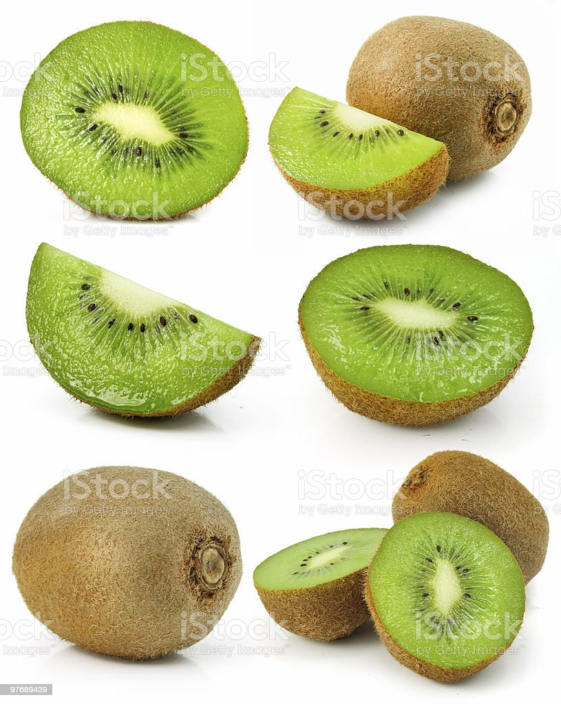 collection of fresh kiwi fruits isolated royalty-free stock photo