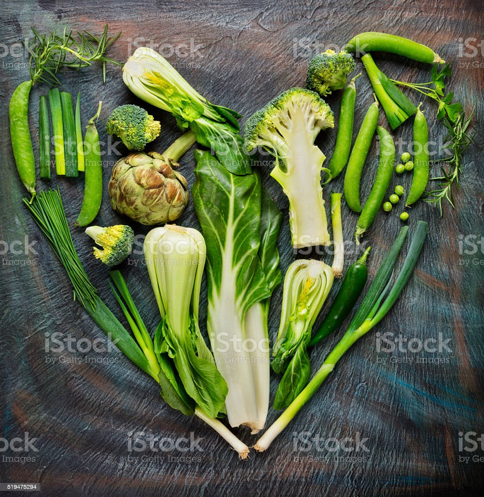 Collection of fresh vegetables in heart shape stock photo