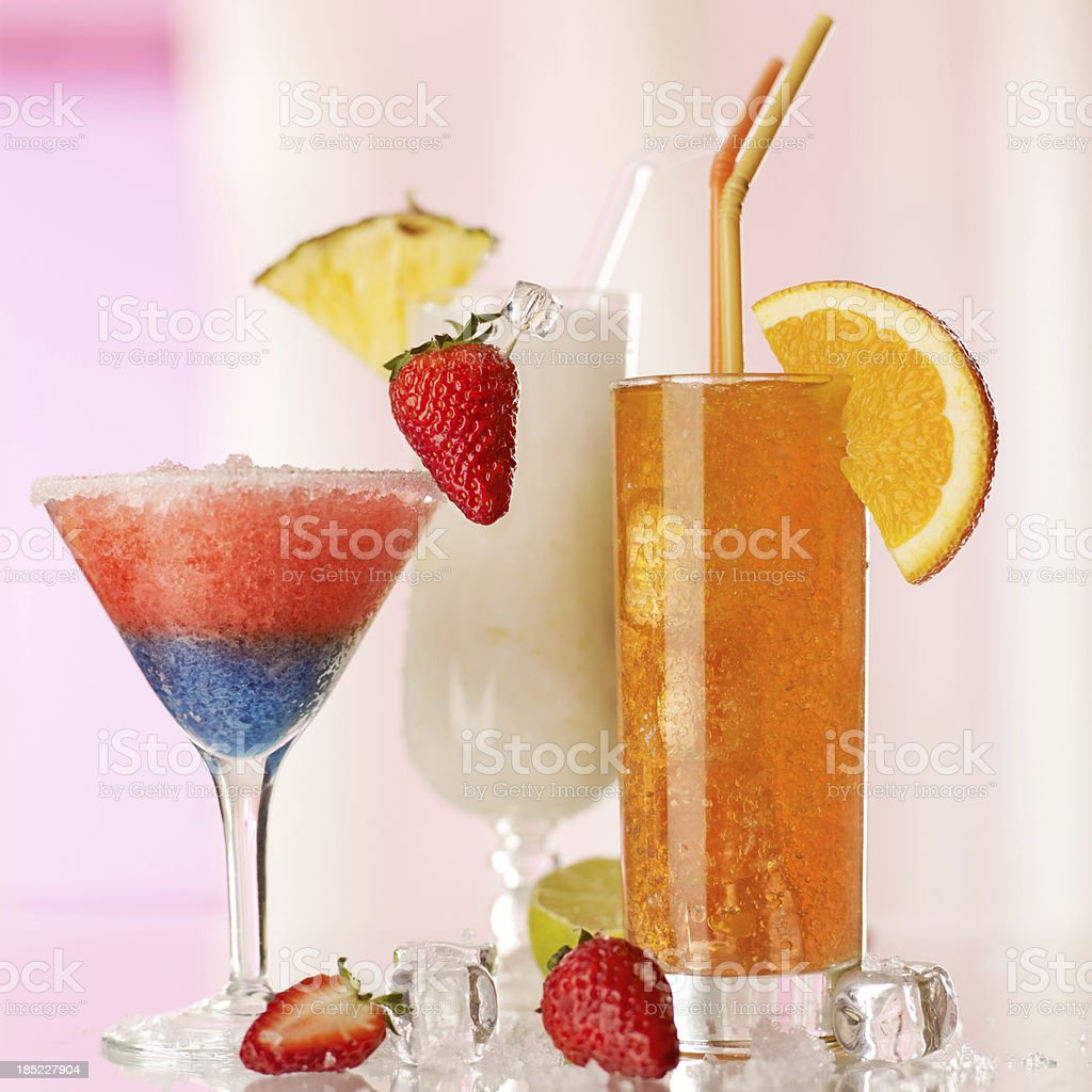 collection of fruit cocktails stock photo
