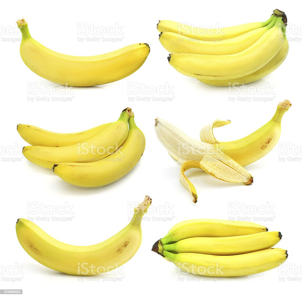 collection of fruits banana isolated on white royalty-free stock photo