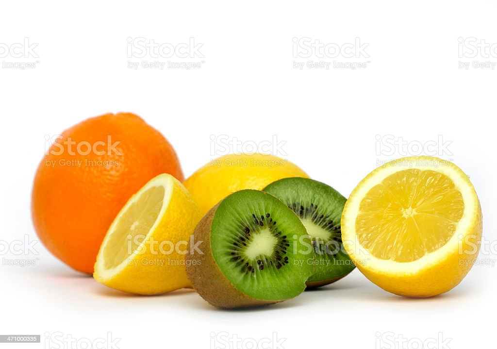 Collection of fruits high in vitamin C on white background royalty-free stock photo