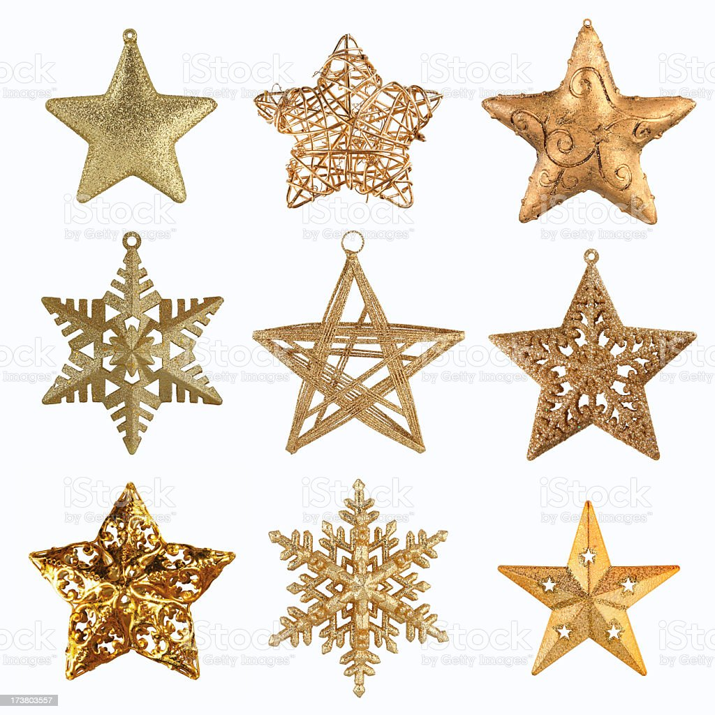 Collection of gold Christmas Stars stock photo