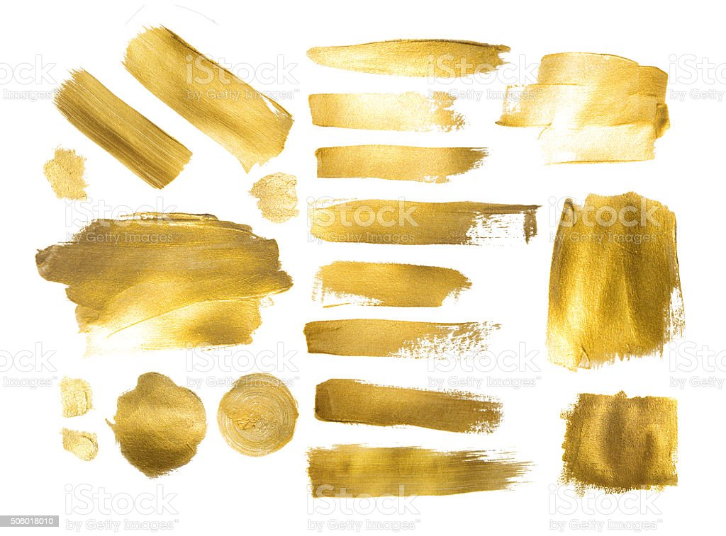 Collection of golden paint strokes to make  background out of stock photo
