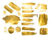 Collection of golden paint strokes to make  background out of