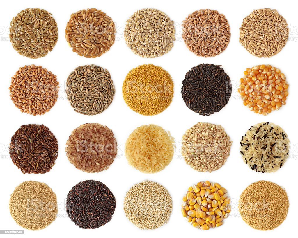 Collection of grains shaped in small circles stock photo
