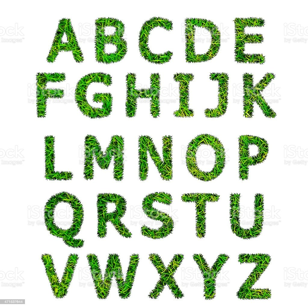 collection of green grass alphabet isolated on white background stock photo