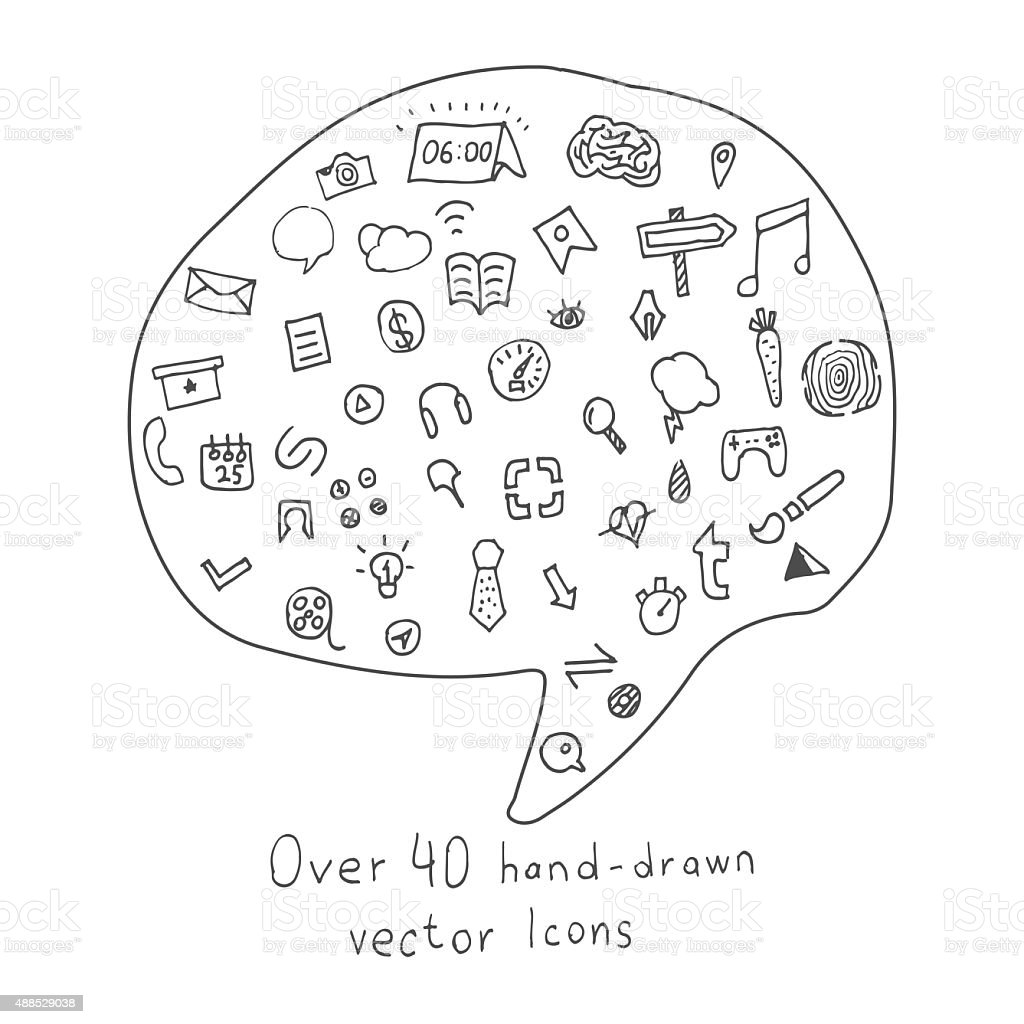 Collection of Hand drawn Icons on different Topics stock photo