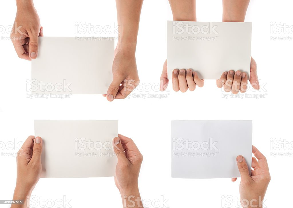 collection of hand holding paper isolated on white background stock photo