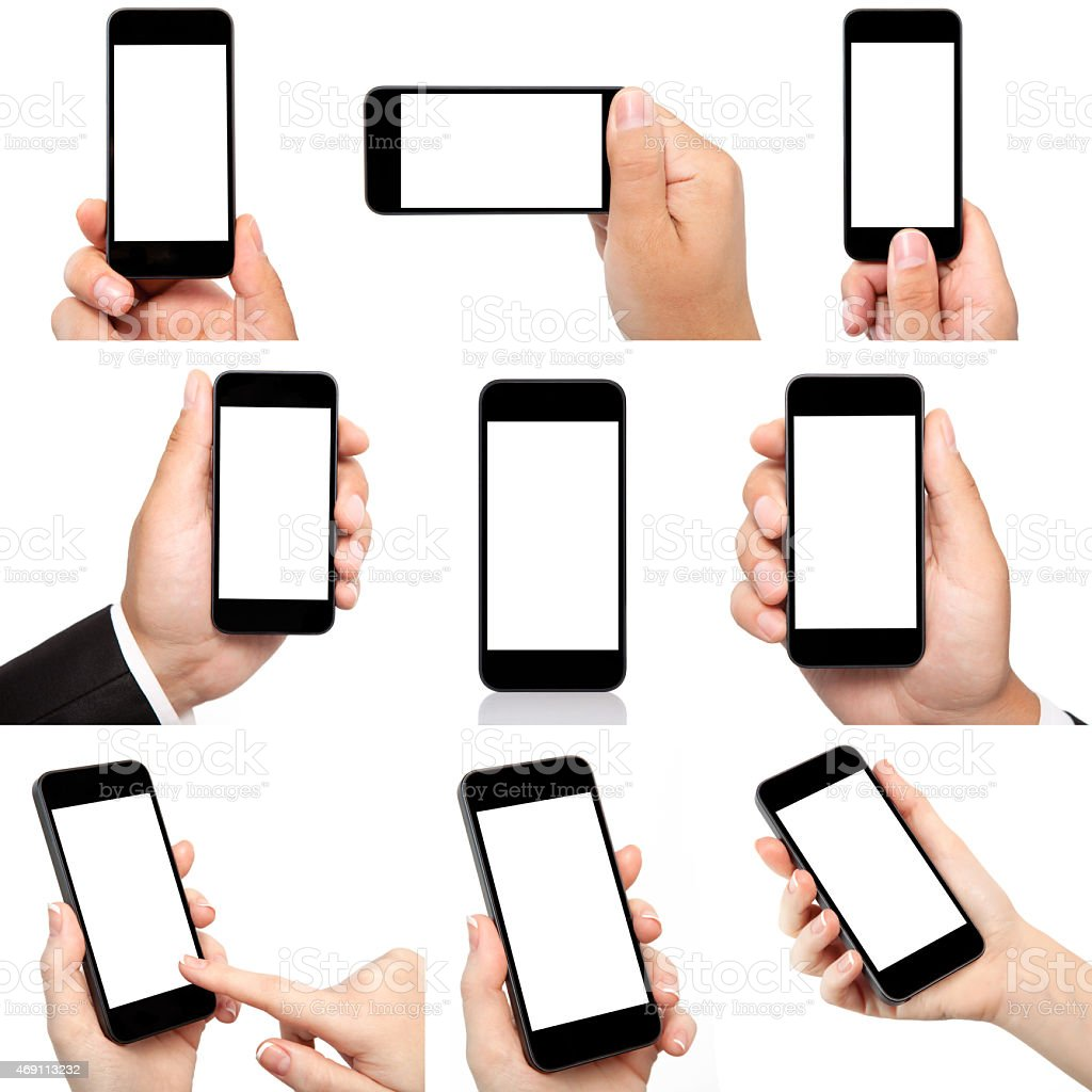 collection of hands holding the phone with isolated screen stock photo