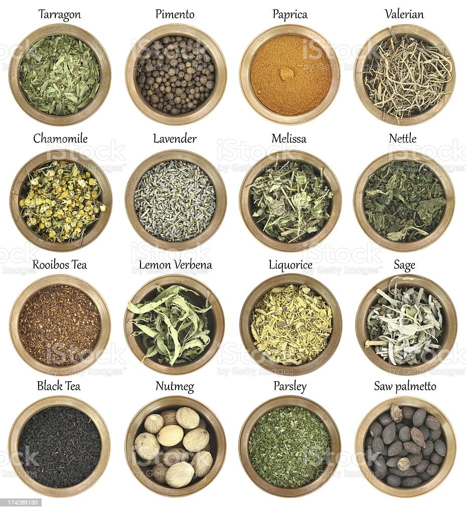 Collection  of herbs and spices royalty-free stock photo