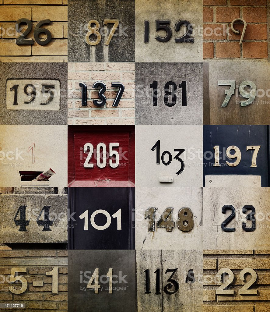 Collection of House numbers stock photo