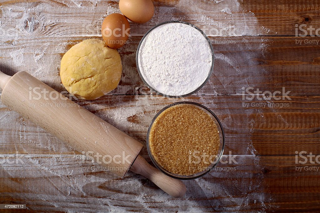 Collection of ingredients for making pastry stock photo