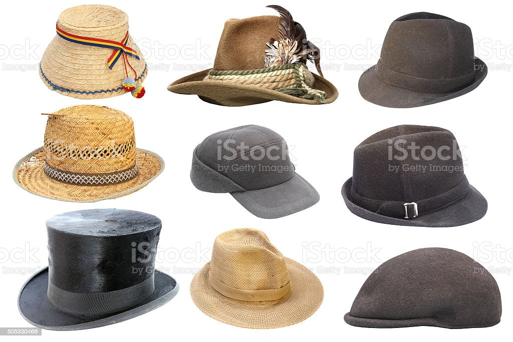 collection of isolated old hats stock photo