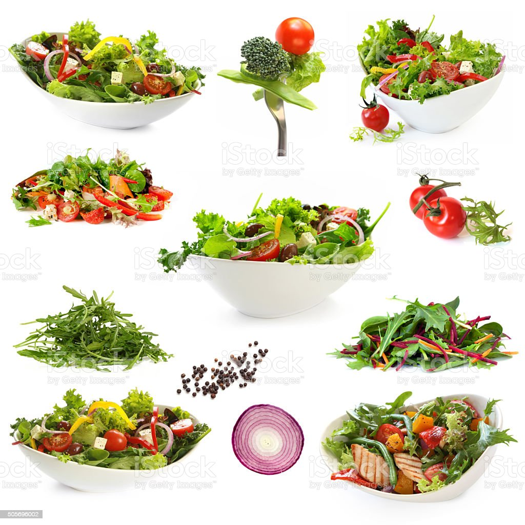Collection of Isolated Salads stock photo