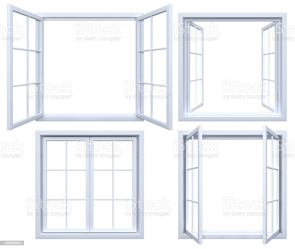 Collection of isolated window frames stock photo