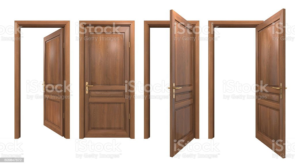 Collection of isolated wooden doors stock photo