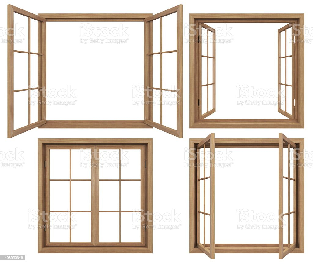 Collection of isolated wooden windows stock photo