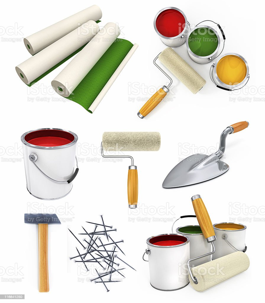 collection of isolated working tools for house repairing royalty-free stock photo
