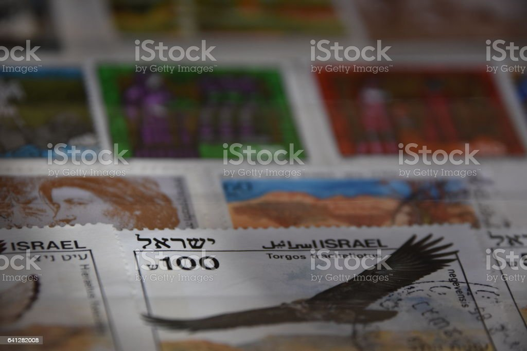 Collection of Israel postage stamps stock photo