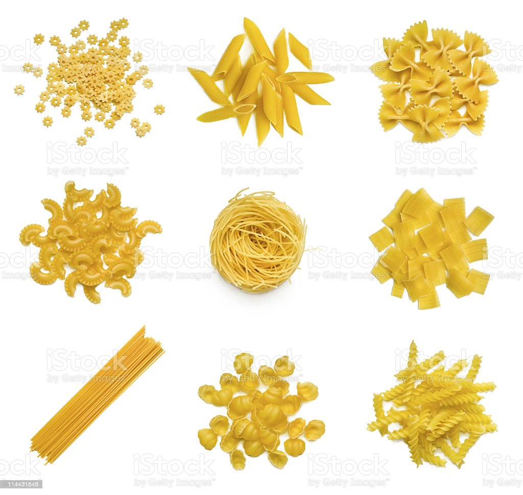 Collection of Italian pasta on a white background stock photo