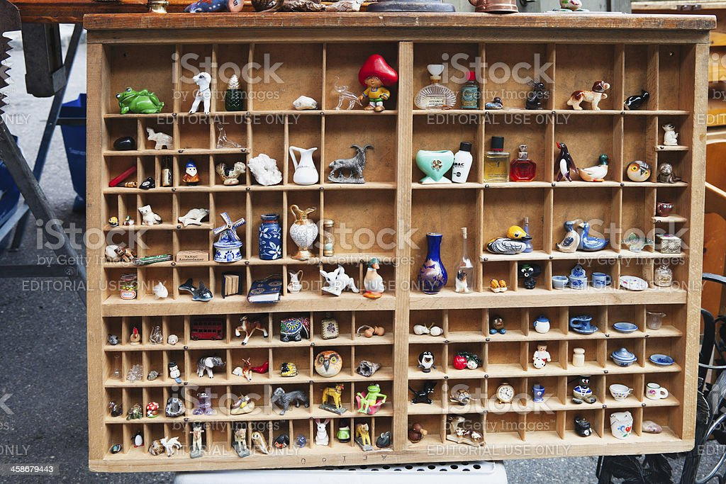 Collection of Knick Knacks at Saanen Brocante, Switzerland royalty-free stock photo