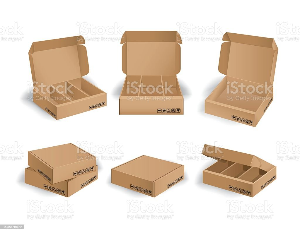 Collection of kraft box design package stock photo