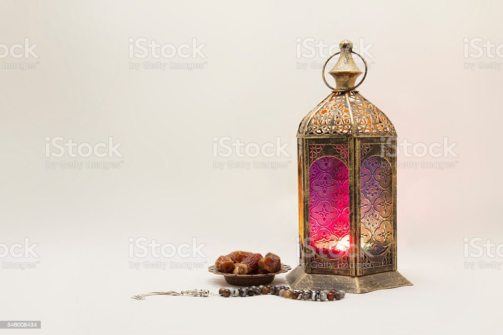 Collection of Lantern with Dates and Rosary stock photo