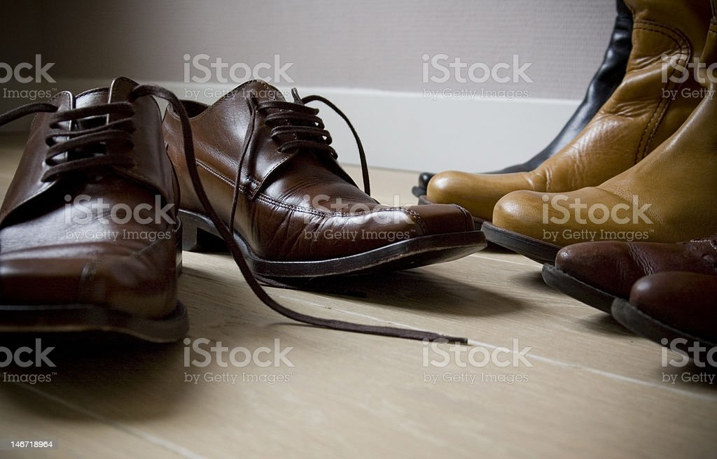 collection of leather shoes stock photo