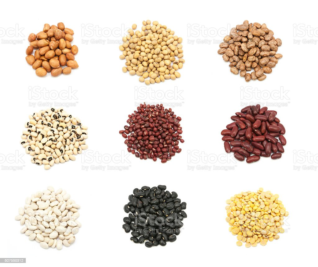 collection of legumes in the cup isolated stock photo