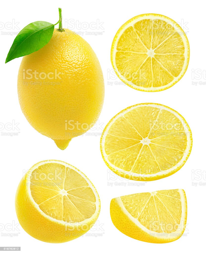 Collection of lemons isolated on white with clipping path stock photo
