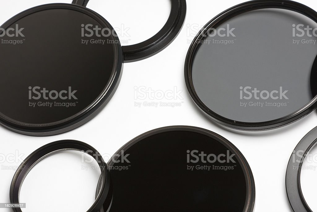 Collection Of Lens Filters And Adapters stock photo