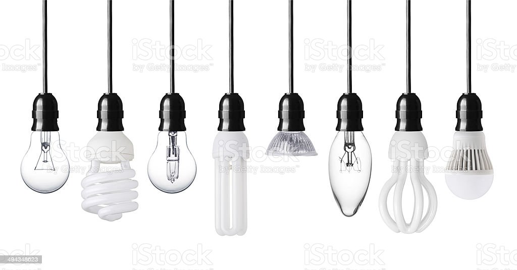 Collection of light bulbs stock photo