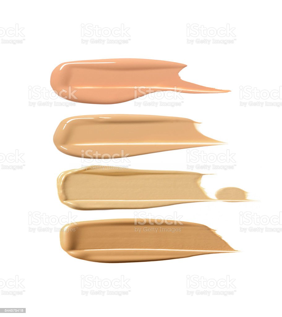 Collection of liquid foundation strokes stock photo
