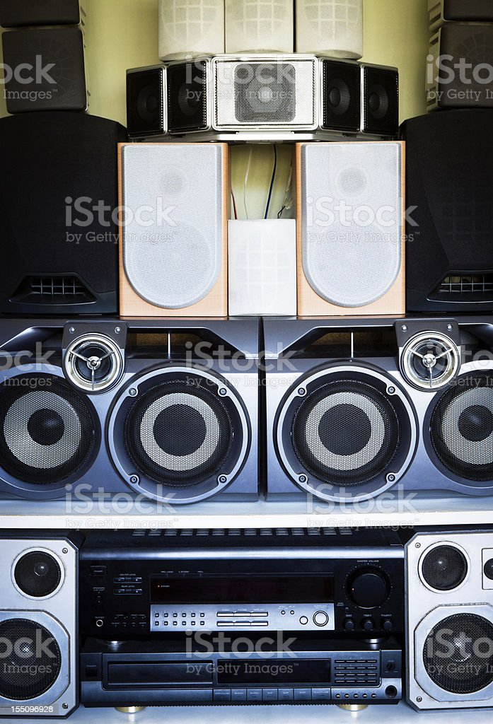 Collection of loudspeakers stock photo