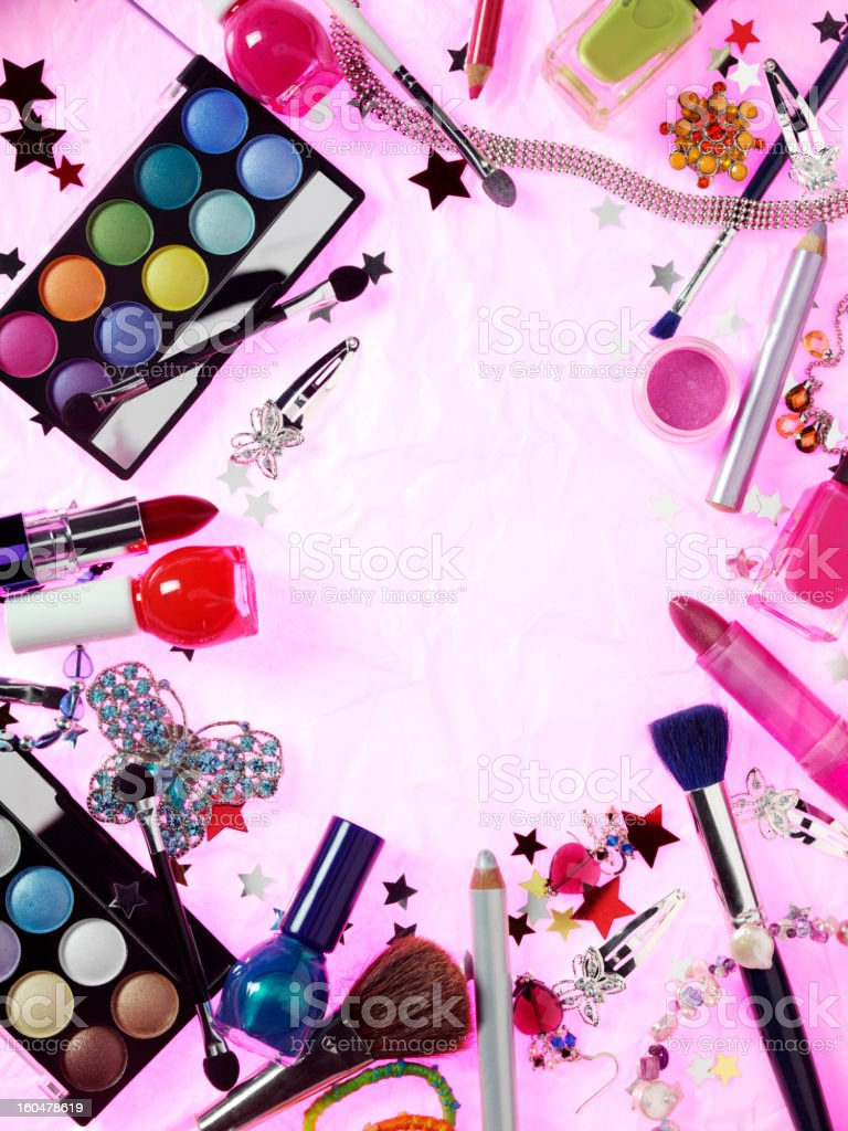 Collection of Make Up and Jewellery stock photo