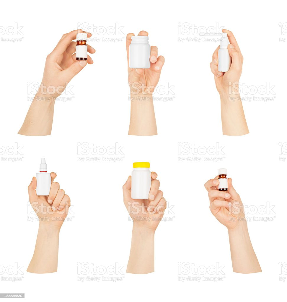Collection of man's hands with a bottle on a white background stock photo