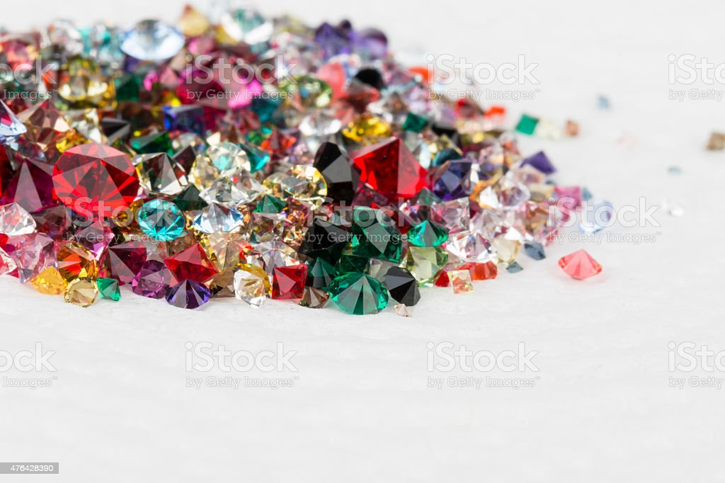 Collection of many different natural gemstones. stock photo