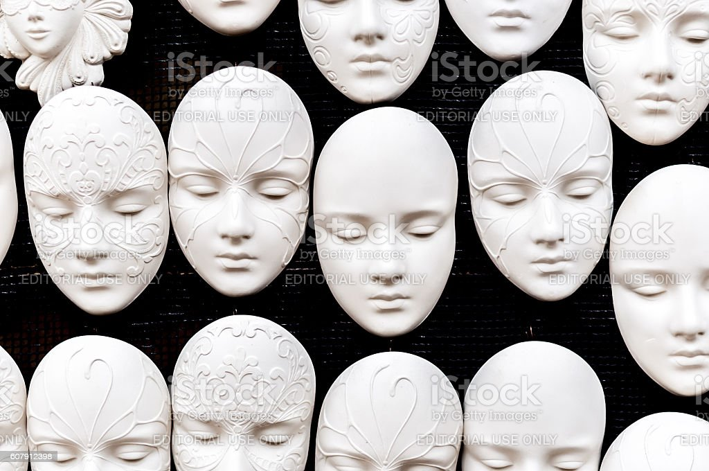 Collection of masks festival of music and art stock photo