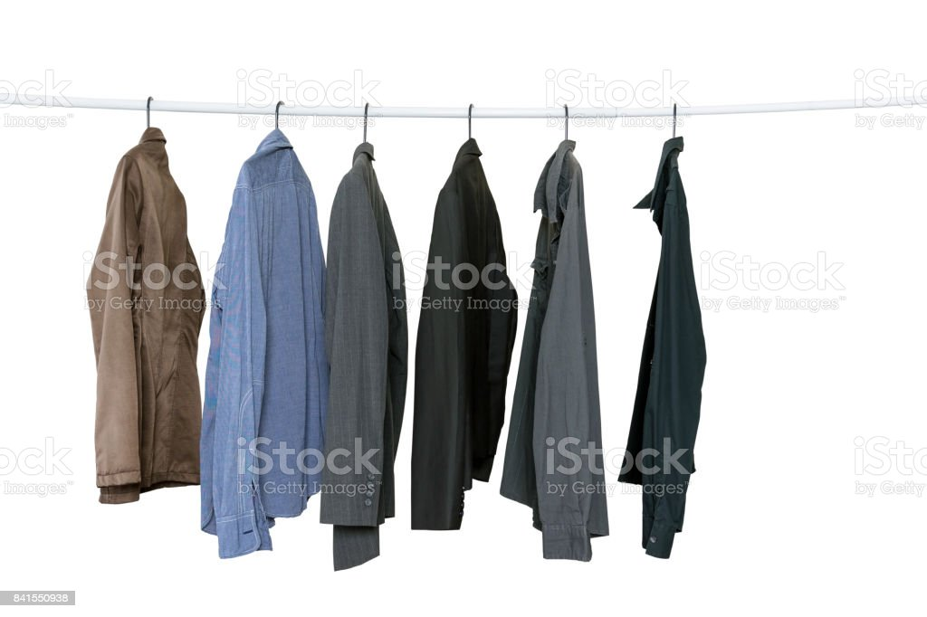 Collection of men's long sleeve shirts stock photo