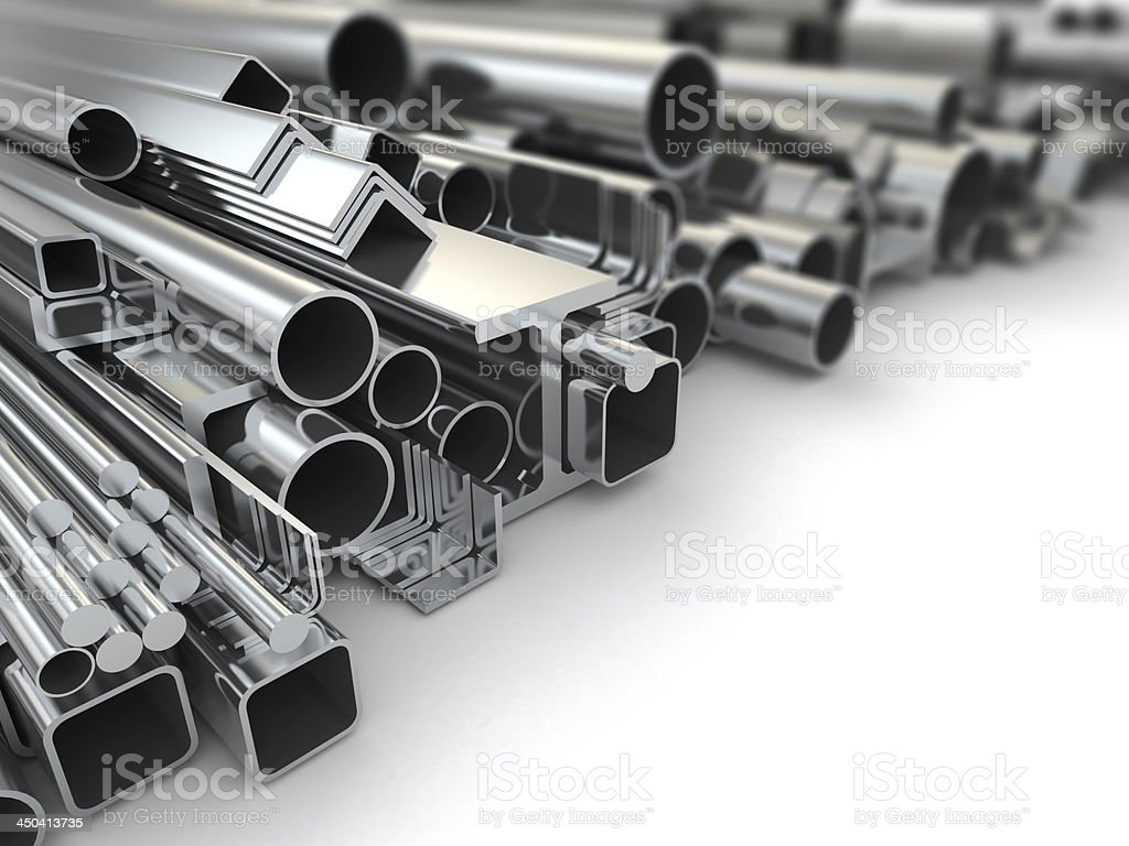 A collection of metal construction engineering materials stock photo