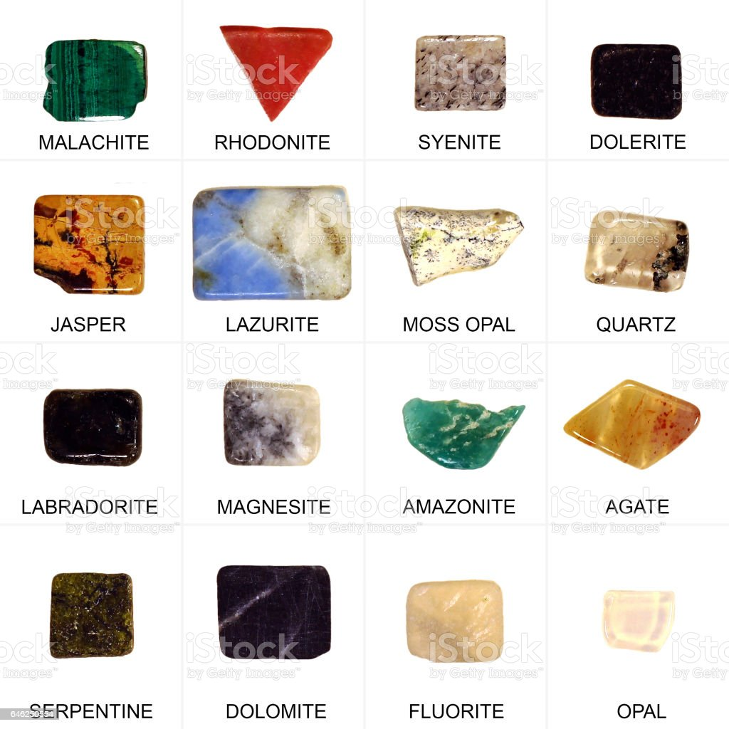 Collection of minerals stock photo