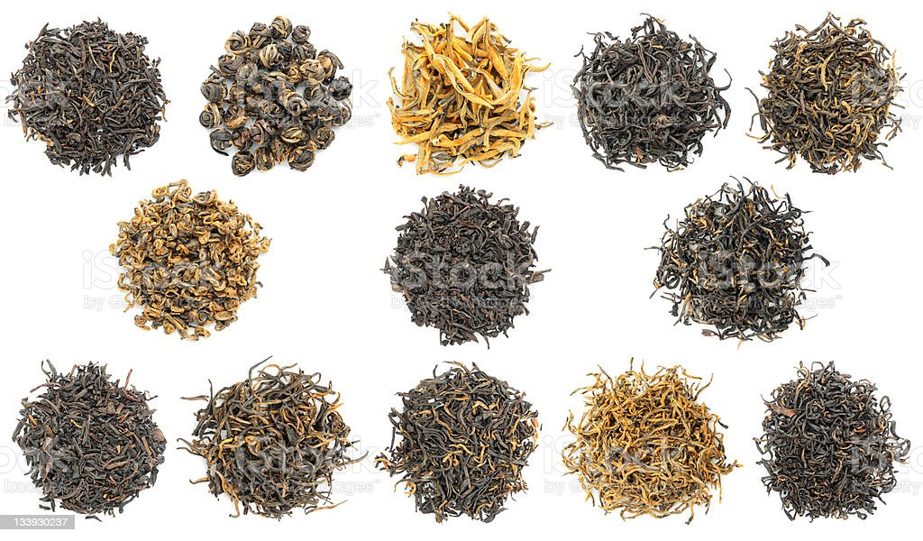 Collection of most famous chinese black (a.k.a. red) teas stock photo
