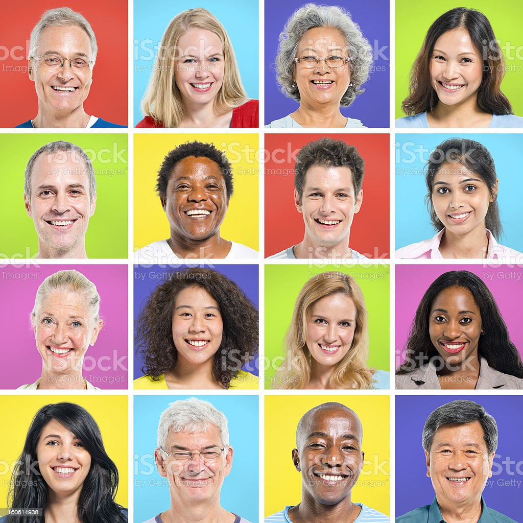 Collection of multi-ethnic happy people stock photo