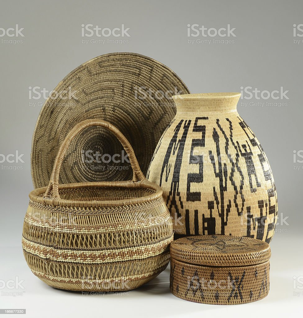 Collection of Native American Baskets royalty-free stock photo
