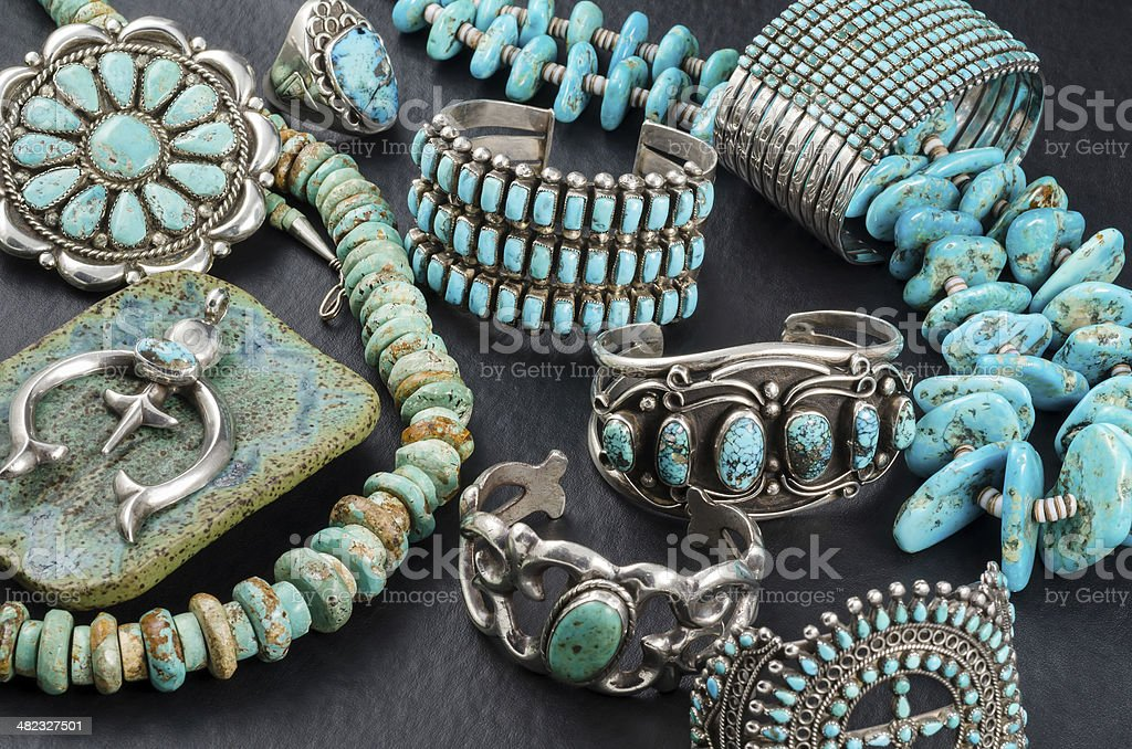Collection of Vintage Turquoise and Silver Jewelry. stock photo