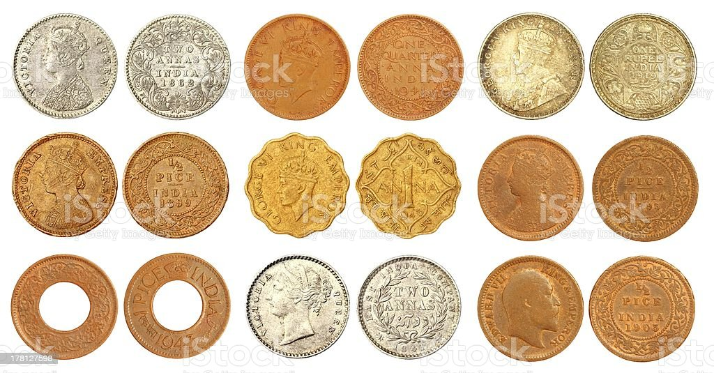 Collection of old Indian coins stock photo