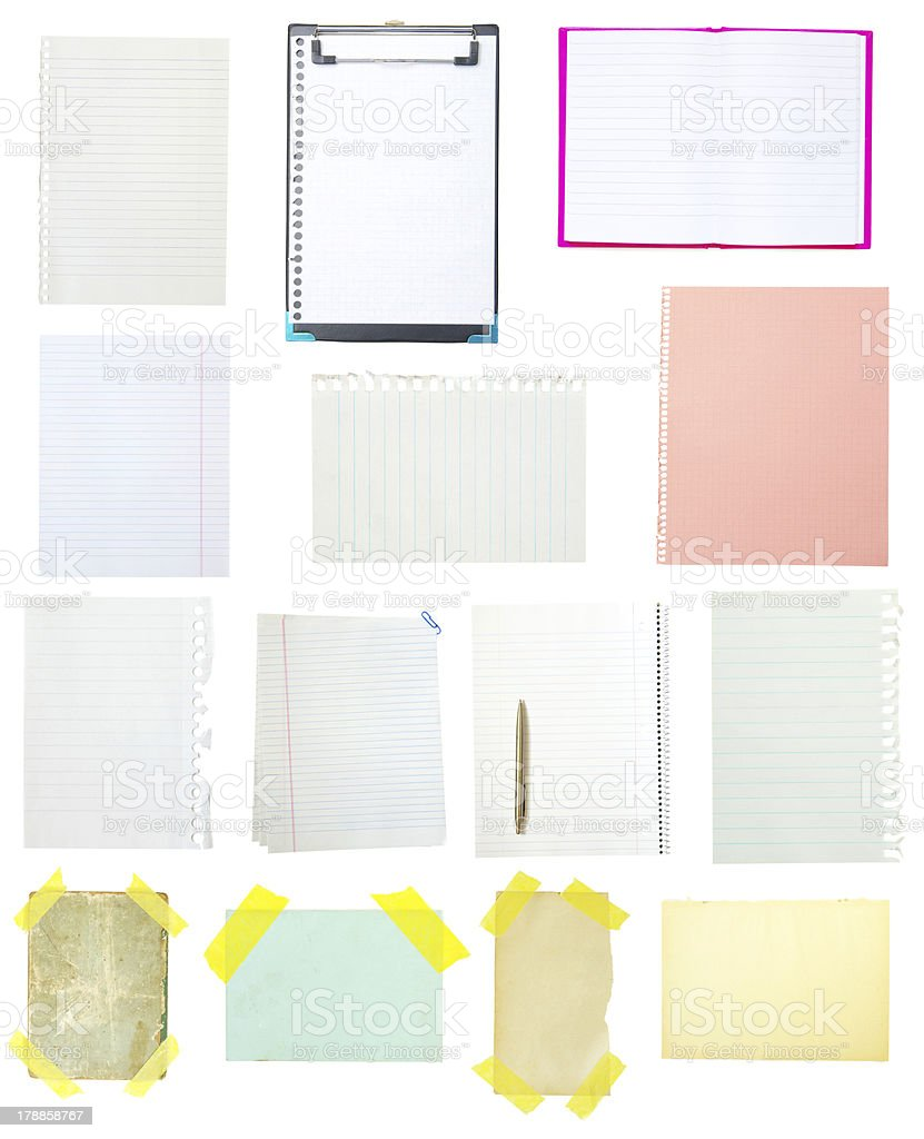 collection of old note paper royalty-free stock photo