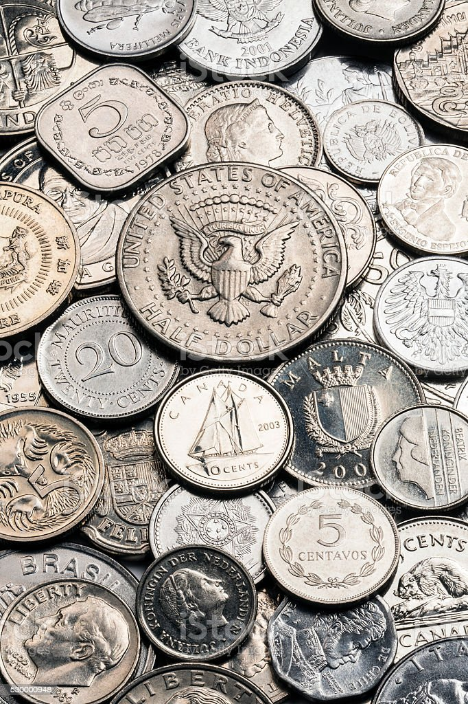 Collection of old Silver Coins stock photo