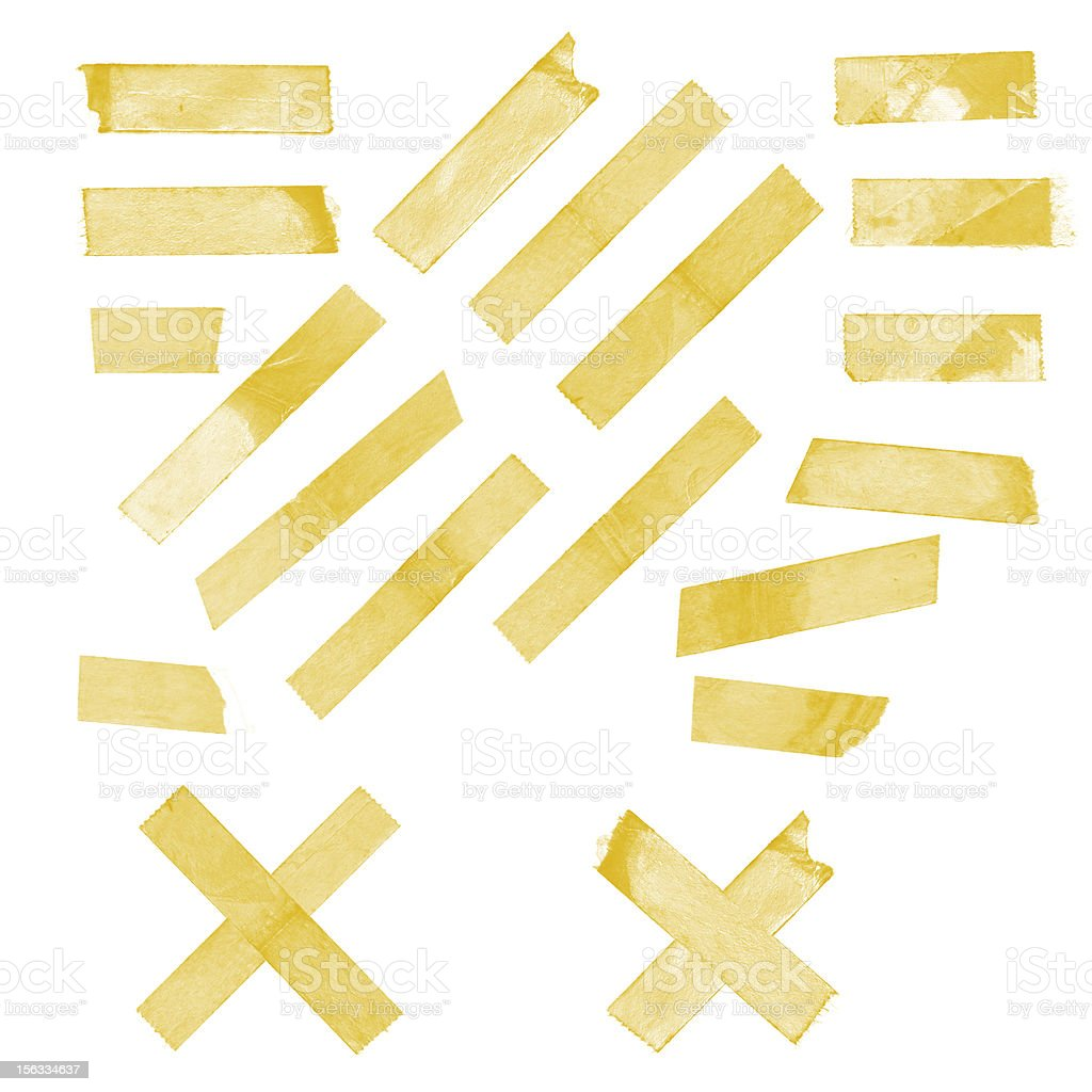 Collection of old sticky tape isolated on white background XXXL stock photo