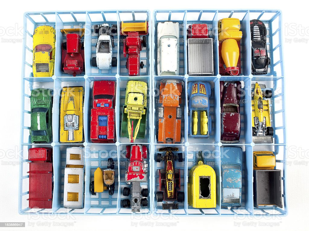 Collection of old toy cars and trucks royalty-free stock photo